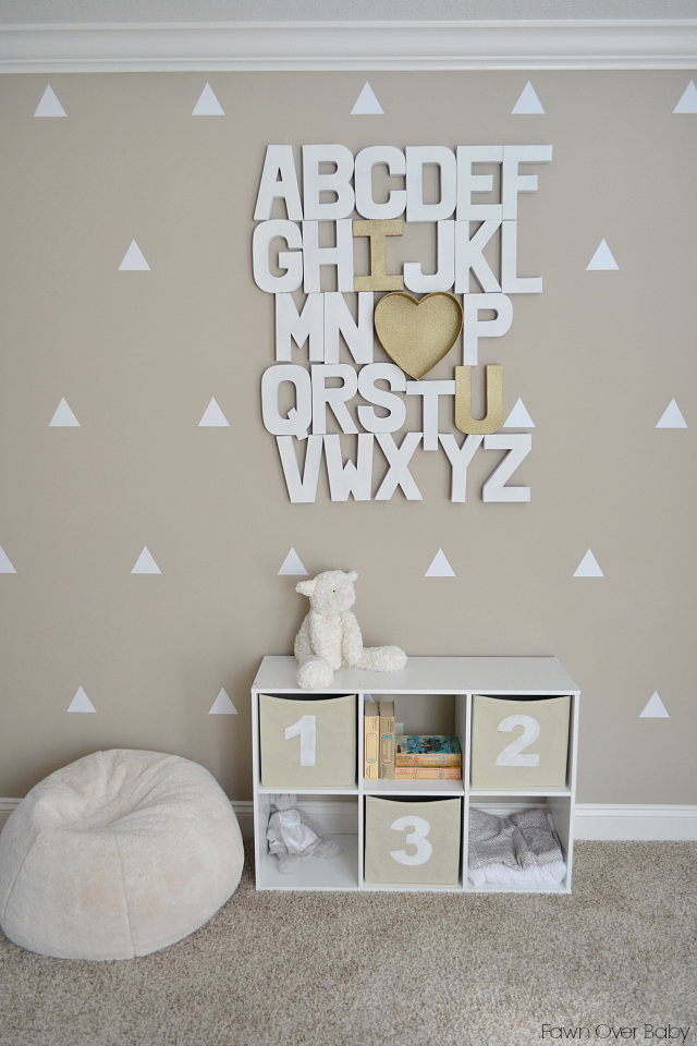 Great Alphabet Wall Art DIY Storage Cubes Lowes DIY ing soon Plush Lamb Restoration Hardware Books Thrifted Small Teddy Bear Stuck On You