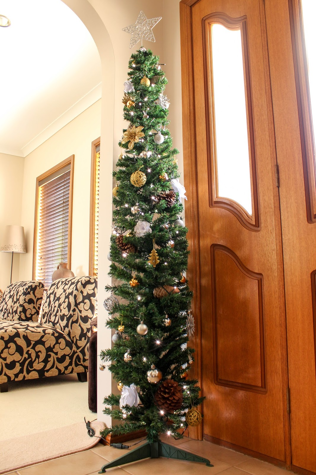 This Year We Decided One Christmas Tree Just Wasnu0027t Going To Be Enough. So  We Picked Up This Cute 180cm Pencil Tree From The Reject Shop For $25 For  The ...