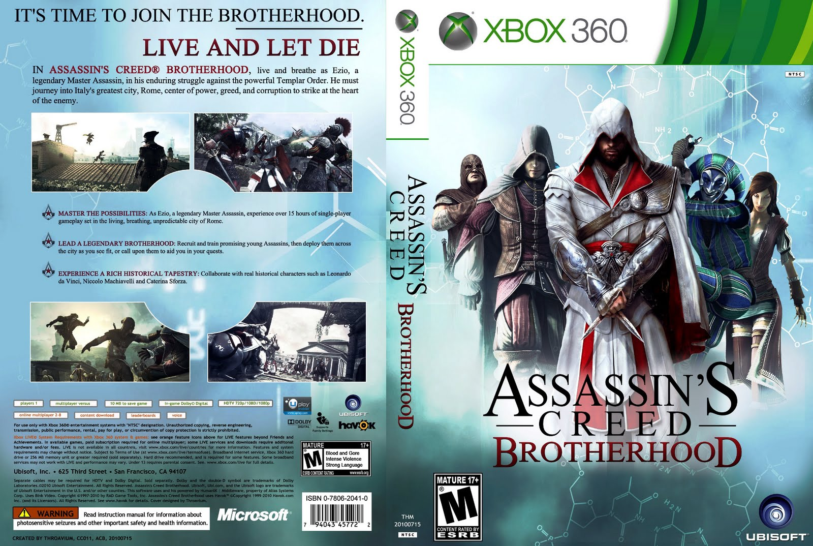 caratula de assassins creed brotherhood v2 xbox 360 dvd