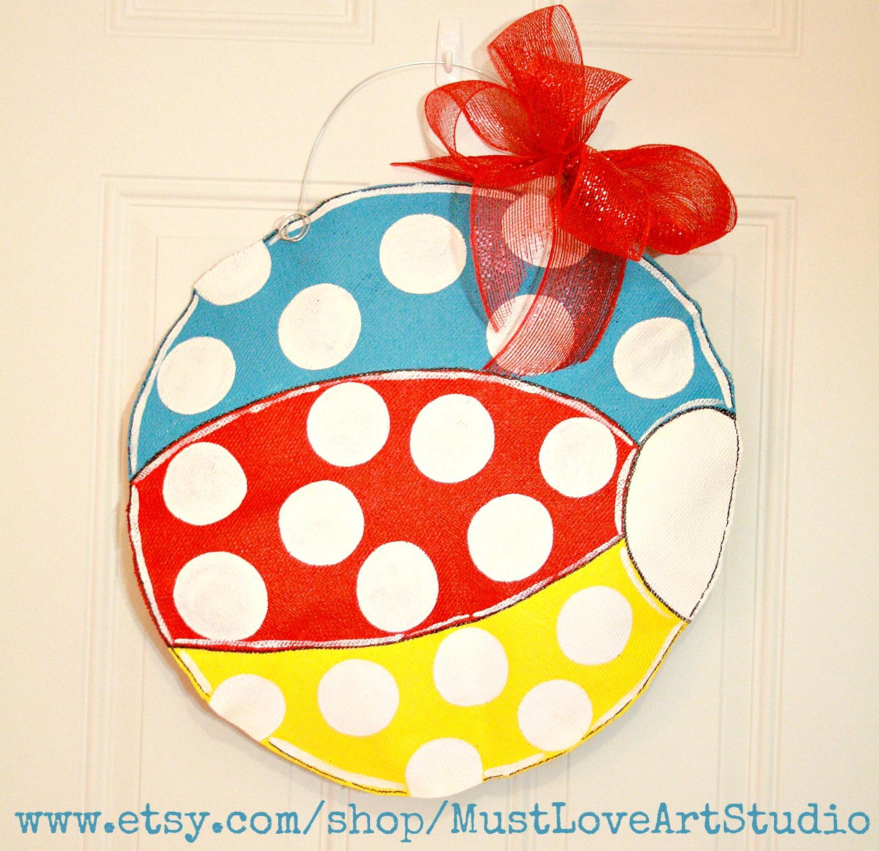 Personalized front door decorations - Summer Beach Ball Burlap Door Hanger Decoration Personalized Hand Painted