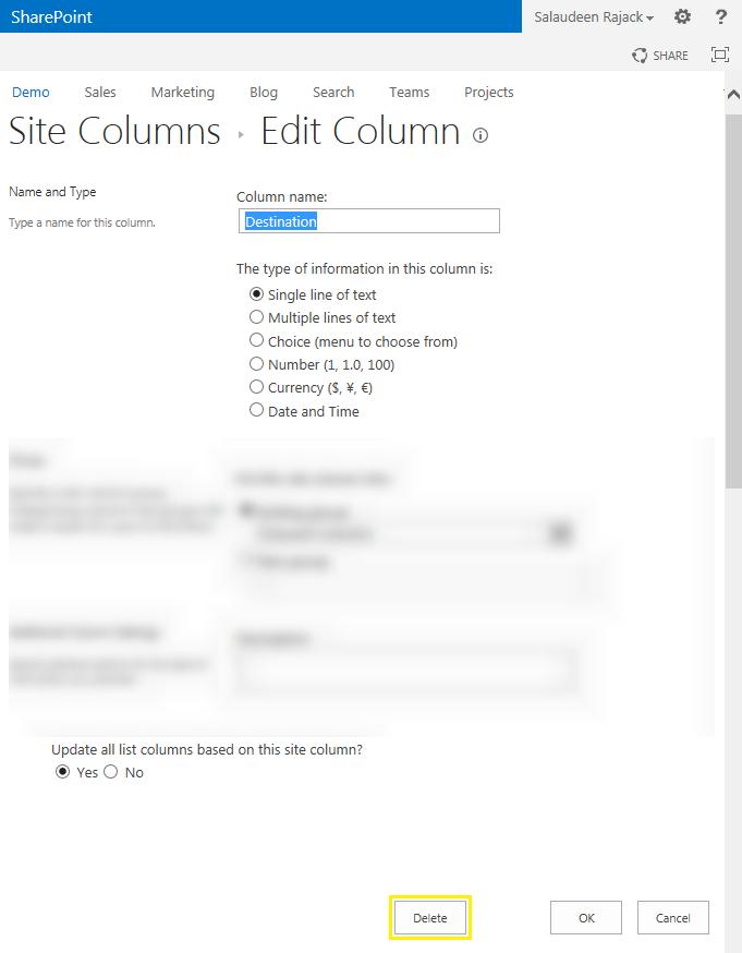 sharepoint 2013 powershell delete site column