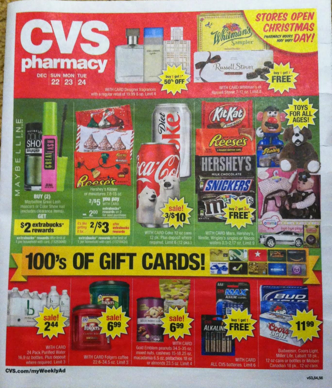cvs ad scan preview for the pre christmas cvs ad 1222 1224