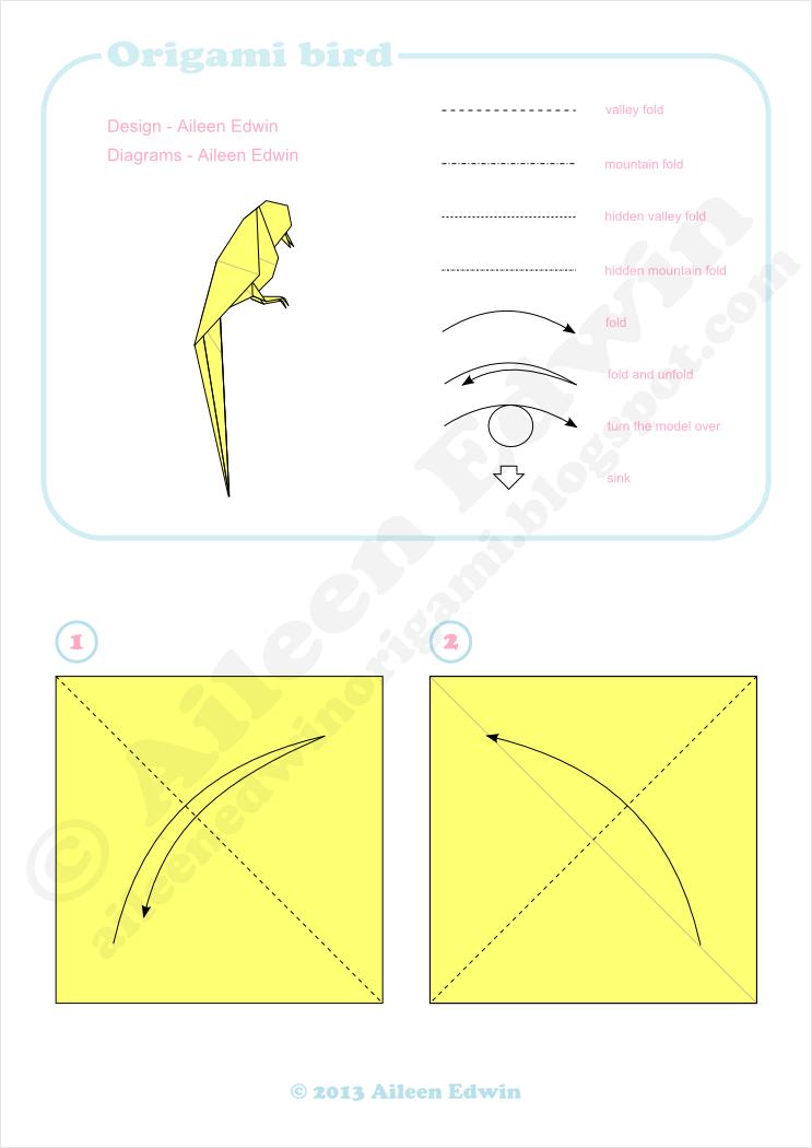Origami Bird Diagrams (Aileen Edwin)