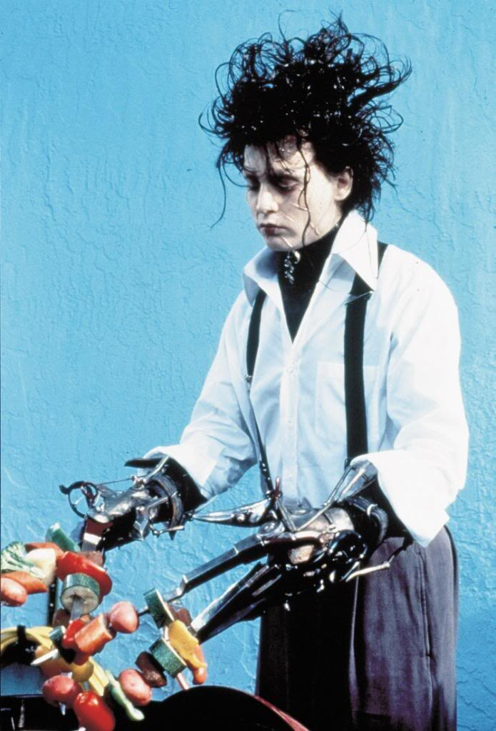 edward scissor hands Edward scissorhands is a 1990 romantic -drama fantasy film directed by tim burton and starring johnny depp an elderly woman tells her granddaughter a bedtime story of where snow comes from, yum.