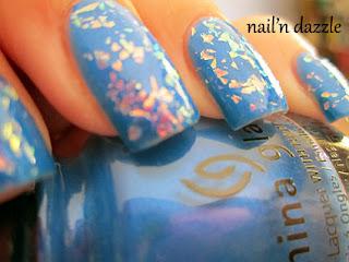 neon, flake, polish, blue