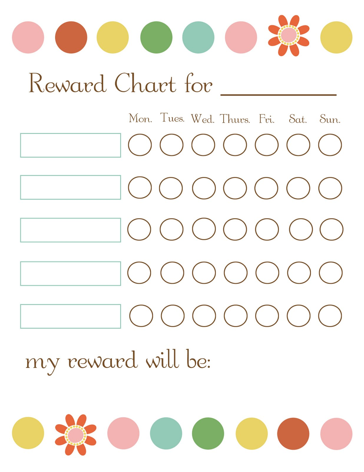 It is a picture of Playful Rewards Chart Template