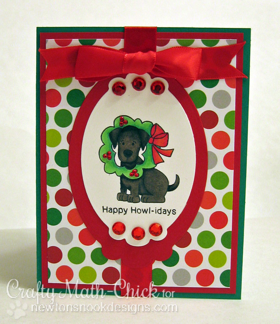 Happy Howl-idays Dog card by Crafty Math-Chick for Newton's Nook Designs | Canine Christmas Stamp Set