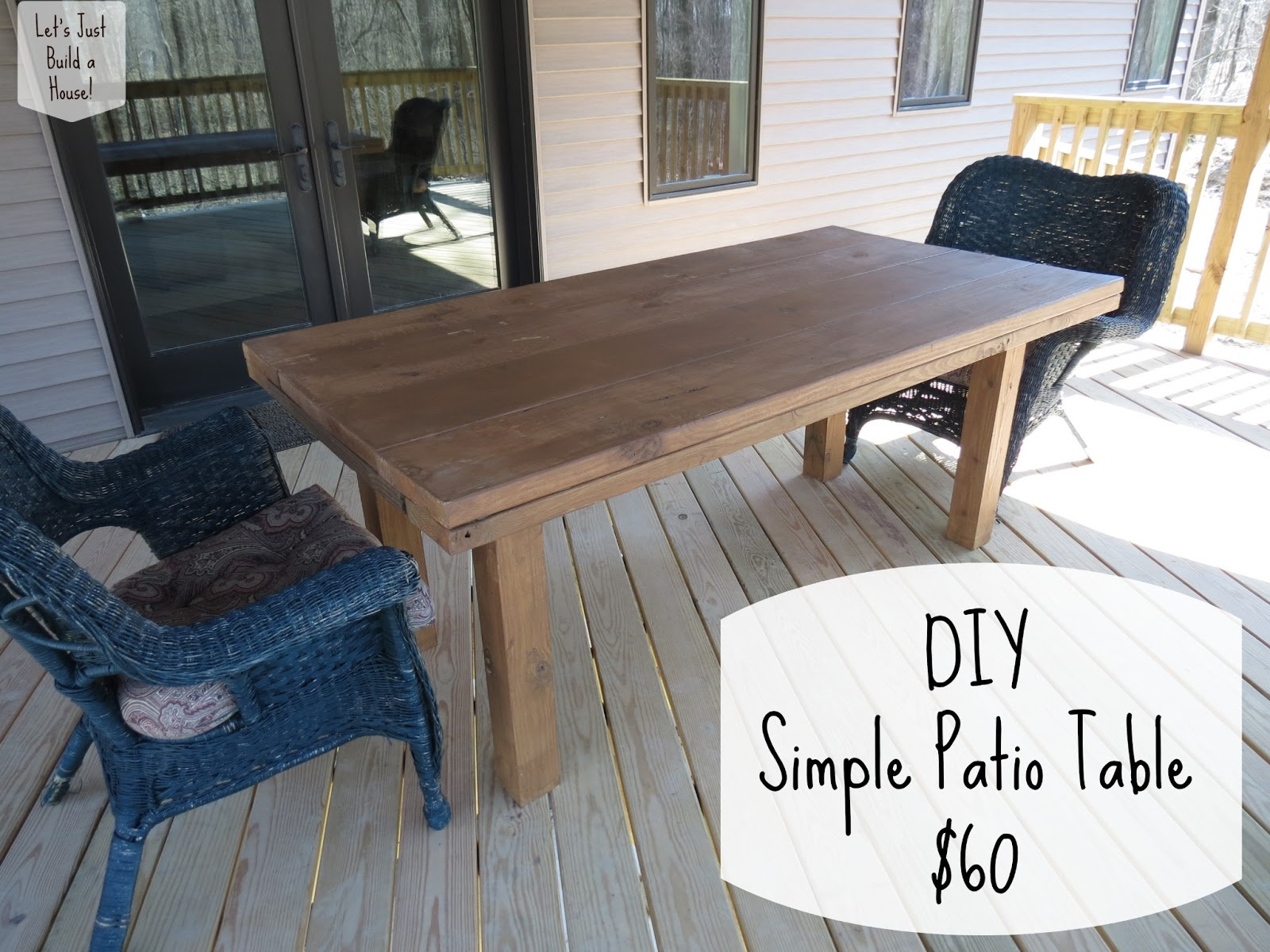 Let 39 s just build a house diy simple patio table details for Diy garden table designs