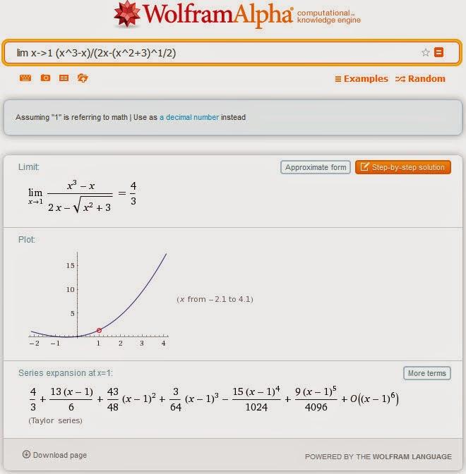 Calculadora en línea de Wolfram Alpha