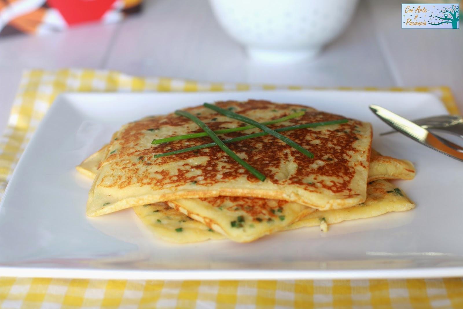 tortitas,pancakes,cebollino,huevo,harina,leche,huevo,egg,milk,sartén,gofres,waffles,mantequilla,desayuno,breakfast,cena,dinner,tomates,cherry,revueltos,vegetariano,vegetarian