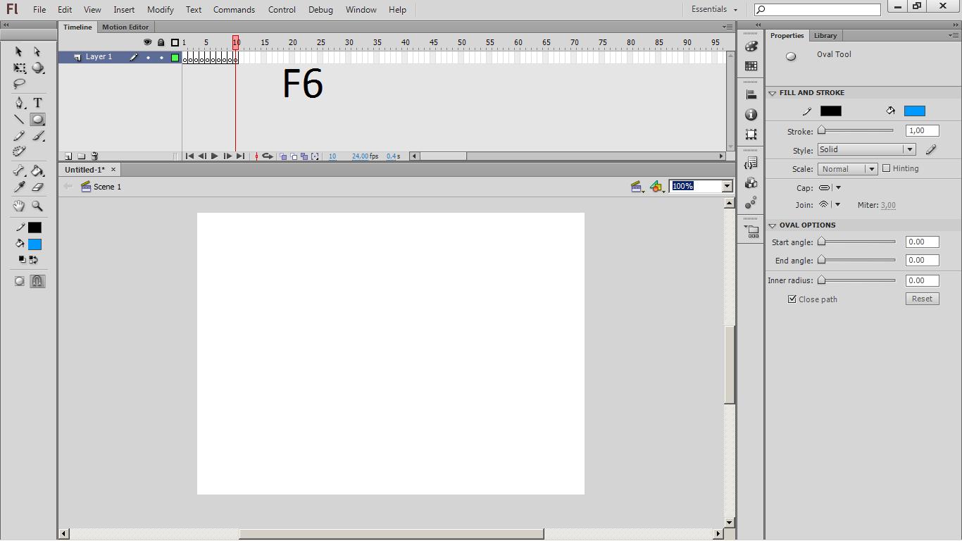 Membuat animasi bola dengan Adobe Flash