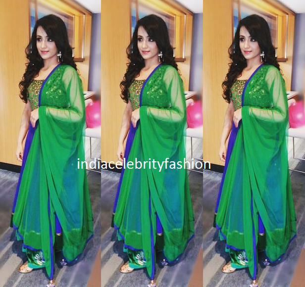 Trisha krishnan in Peacock color Anarkali at Indian Trade expo