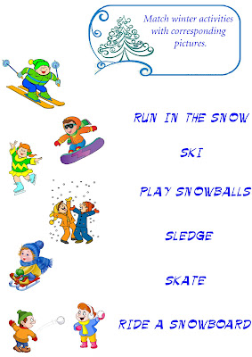 winter vocabulary worksheet, match words