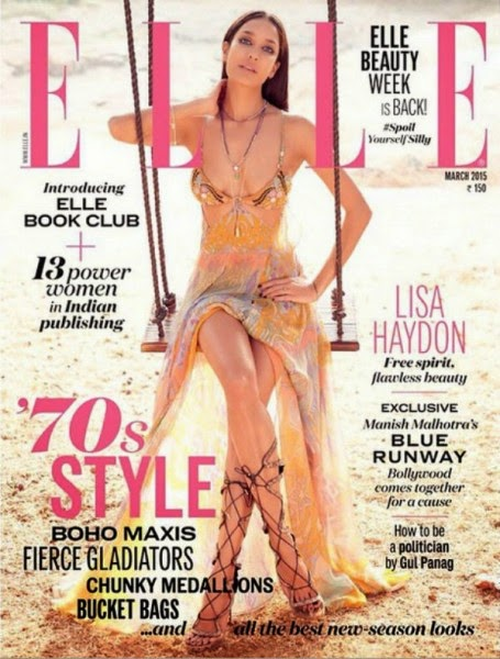 Lisa Haydon Sizzles on Elle India Magazine Cover March 2015 Issue
