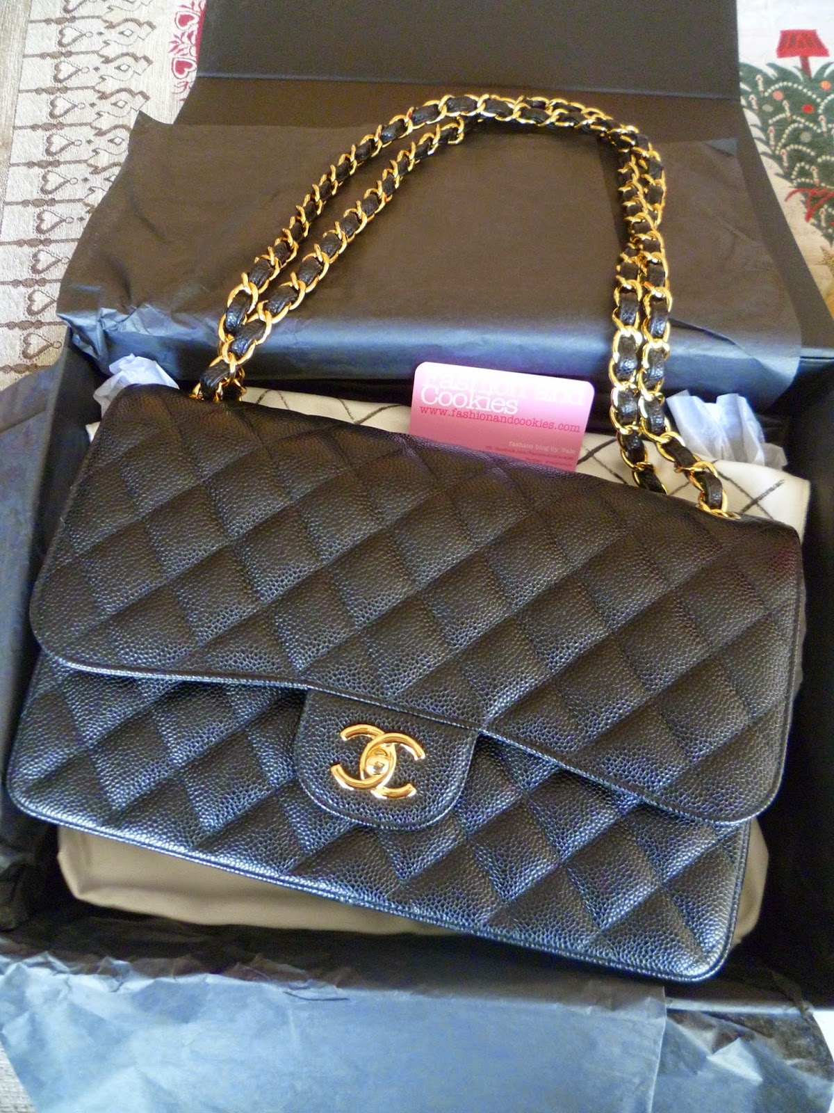 Chanel 2.55 classic flap bag in grained calfskin leather on Fashion and Cookies fashion blog
