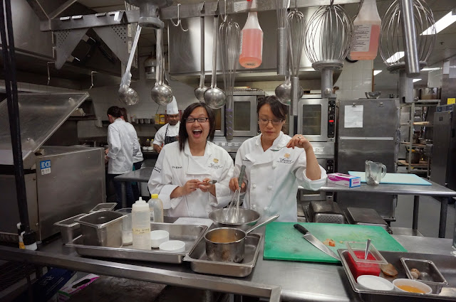 tasting our food in the kitchens of the Fairmont Hotel
