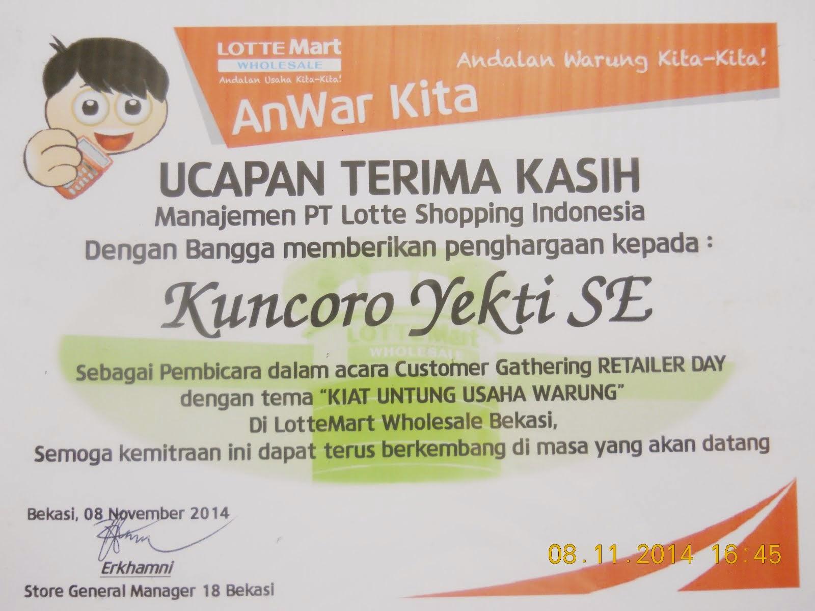 Apresiasi Dari LotteMart Indonesia