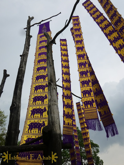 Hill Tribe banners at Doi Tung Royal Villa
