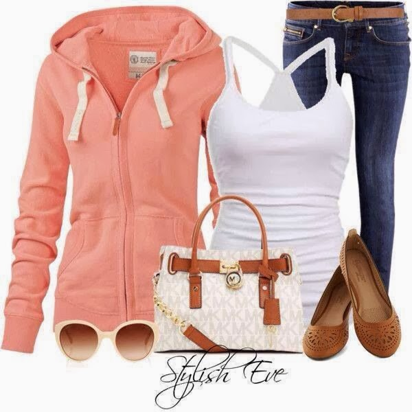 Orange hoody, white blouse, jeans and handbag combination for fall