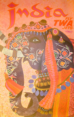Vintage 1960s India travel poster with elephant by David Klein