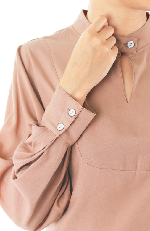 Conference Chic Long Sleeve Blouse - Latte
