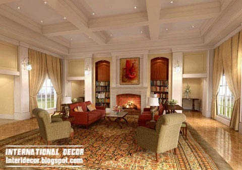 warm living room with cofferd ceiling