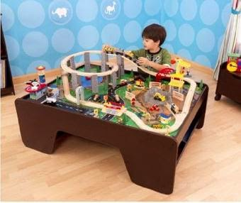 Kids Train Table Sets: KidKraft Wooden Espresso Train Table with ...