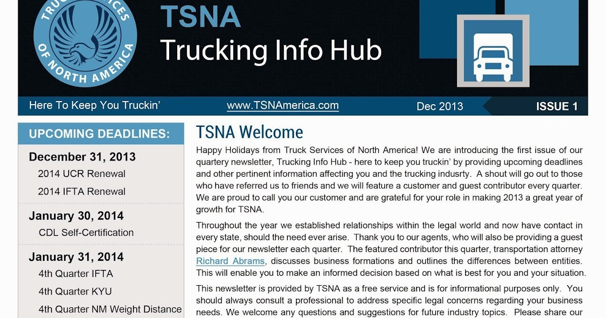 Truck Services Of North America Introduces Trucking Info Hub Truck