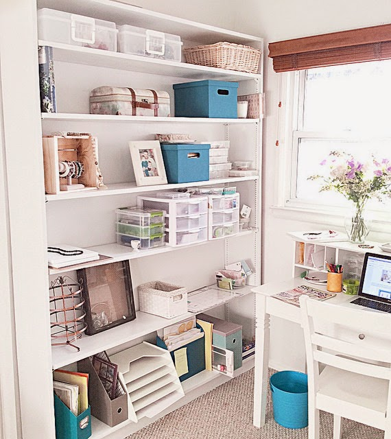 white shelf organization