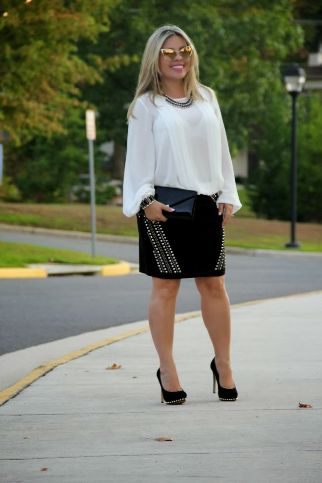 Studded Black Pencil Skirt, Pleated White Blouse, Nastasya Sunglasses - Tom Ford,  Ailee Studded Suede Pump - Michael Kors, Gallington Black Clutch - Aldo, Accessories - TJ Maxx