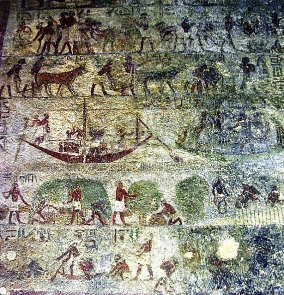 منظر للصيد فى مقبرة باكت ببنى حسن من الدولة الوسطى