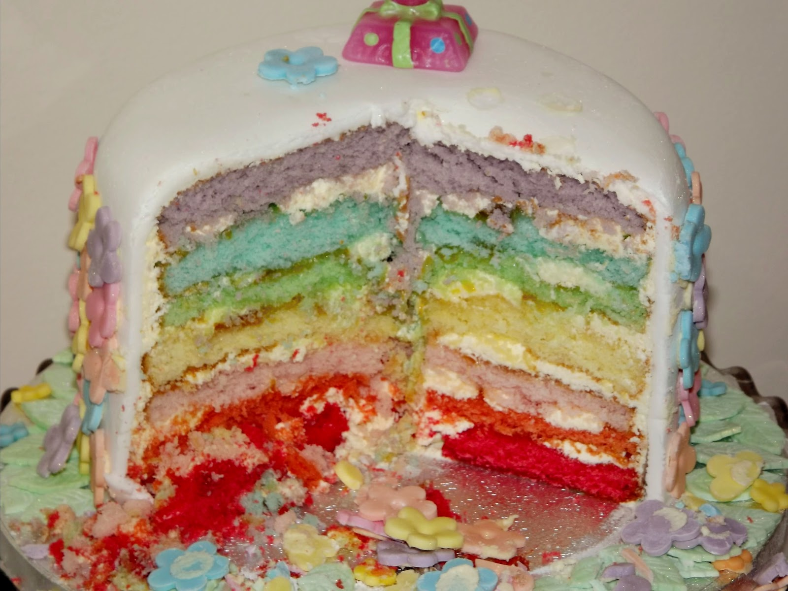 1st Birthday Rainbow Cake 7 Layer Covered In Fondant And Decorated With Flowers Leaves Handmade Marzipan Bees