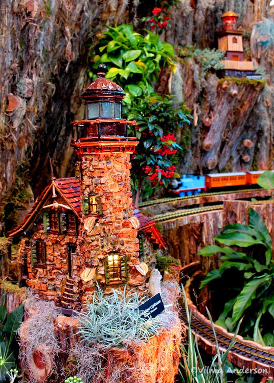 Miniature lighthouse display at the US Botanic Garden in Washington DC