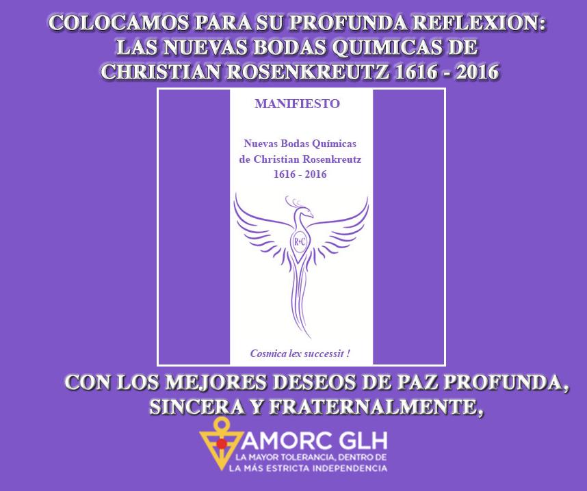 Manifesto Las Nuevas Bodas Quimicas de Christian Rosenkreutz 2016