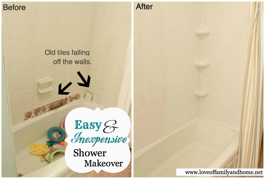 Shower Before & After with Tub Surround Tutorial - Love of Family ...