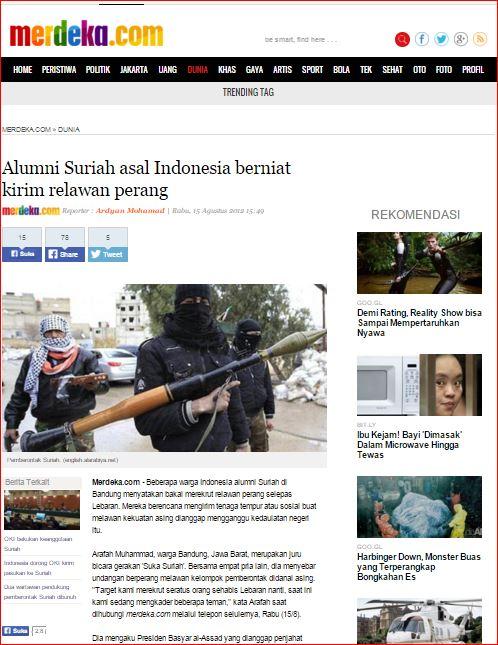 Artikel di merdeka.com pada 15 Agustus 2012, terkait rencana kelompok Syiah mengirimkan kombatan ke Suriah