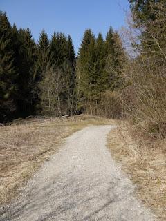Gleißental, links bei der Bodenerhebung der Zugang zur hochführenden ehemalige Römerstraße