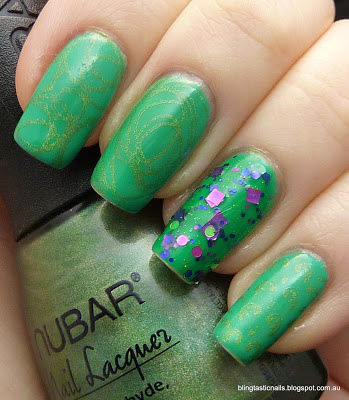 China Glaze Four Leaf Clover with Nubar Reclaim stamping and KBShimmer The Dancing Green