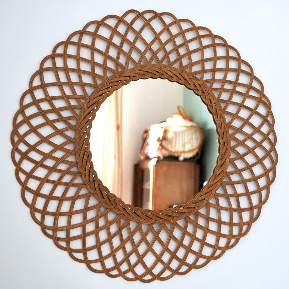 Miroir en osier en forme de fleur vendu g n ration vintage for Miroir en osier