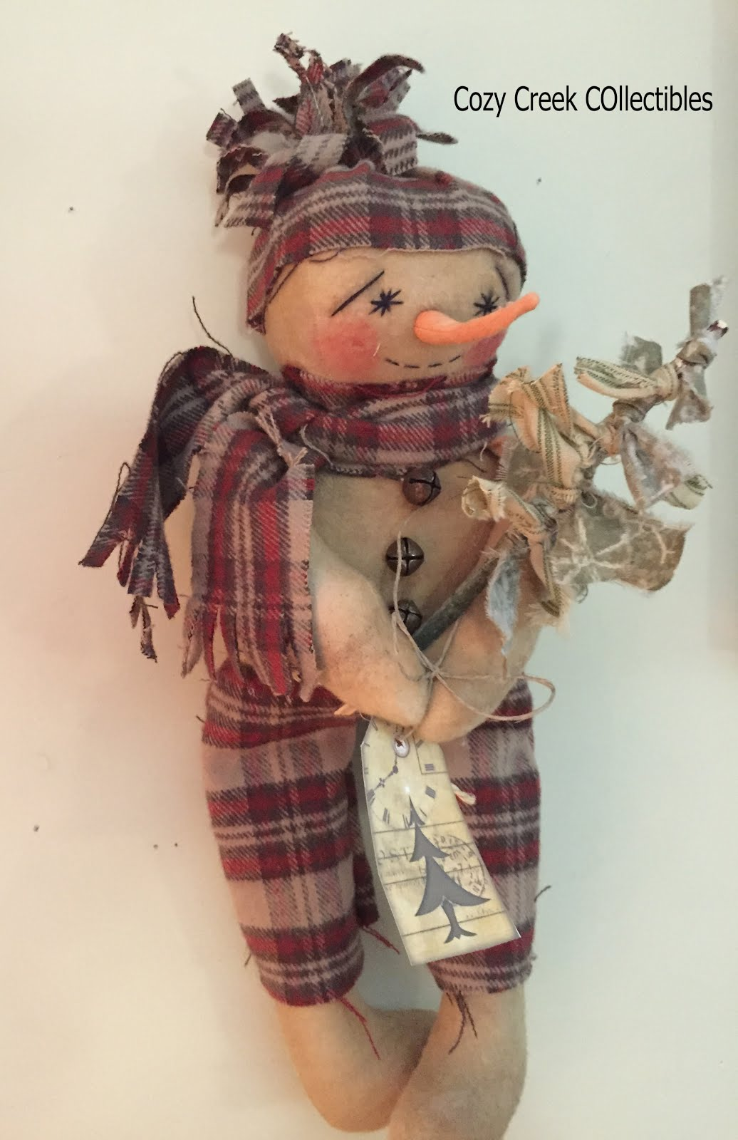 Handmade Primitive Snowman With Christmas Rag Tree