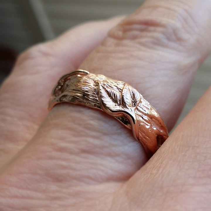 14k Rose Gold Leaf Twig Wedding Band Hand Sculpted By Dawn Vertrees