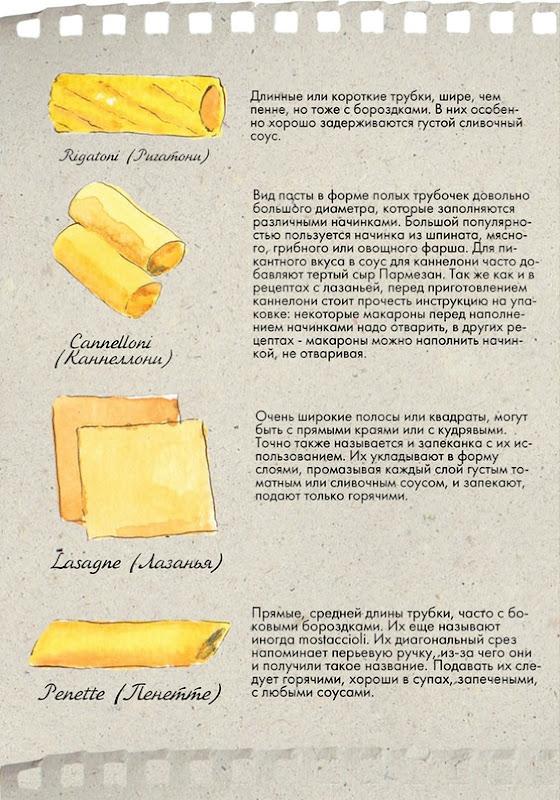 ригатони, каннеллони, лазанья, пенетте, итальянская паста