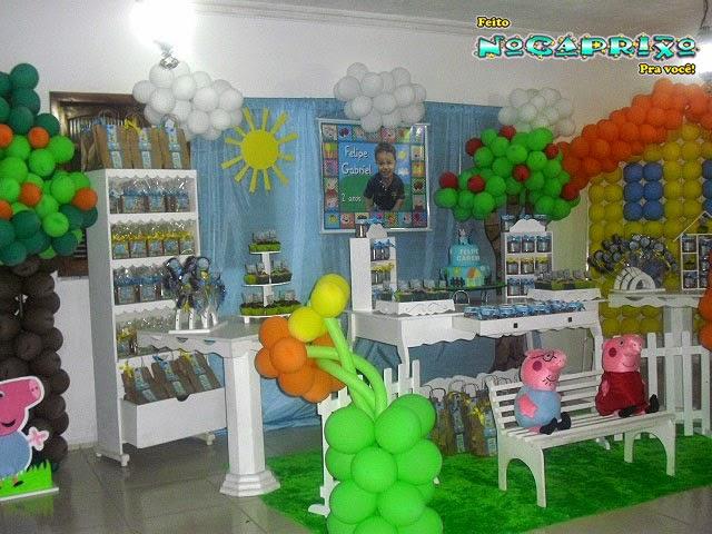 Decoração de Balões, Aluguel Peças Provençais e Banner Personalizado - George Pig