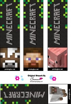 Free printable Minecraft bookmarks