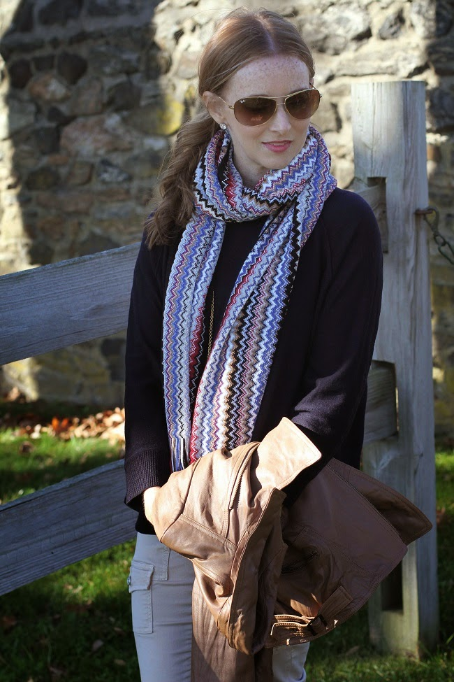jcrew swing sweater, joie so skinny jeans, joules rain boots, missoni scarf, beige  leather jacket, ray bans, nordstrom earrings