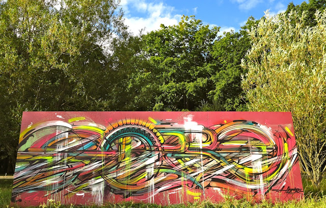 """""""Abstraction"""" By French Street Artist Hopare In Limours, France."""