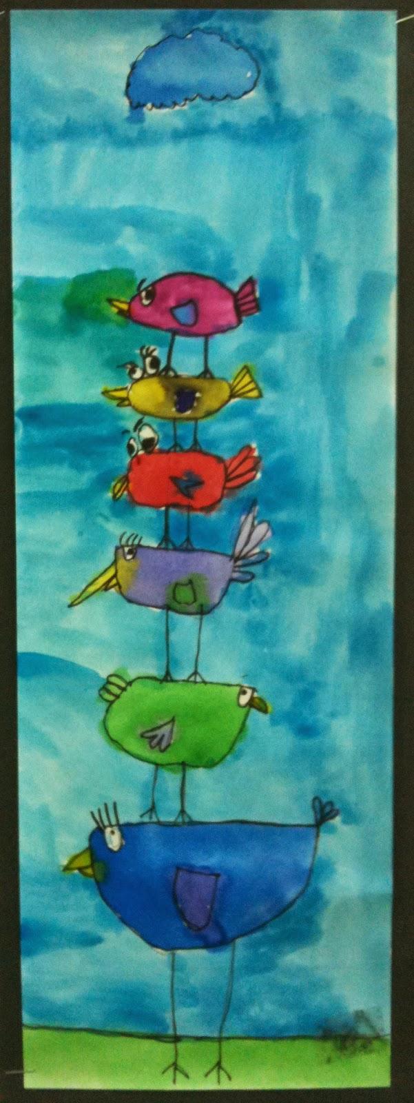 Art room blog 1st grade stacking birds for Birds project