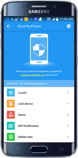 Android Find my phone 360 Security செயலி