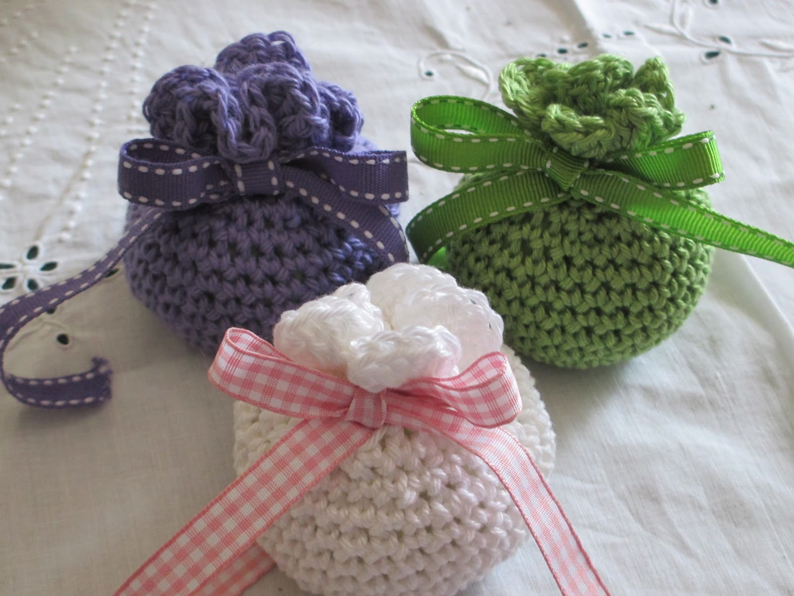 Crochet Sachet Bags : And Voila!! I will put them into a pretty lidded box for presentation ...