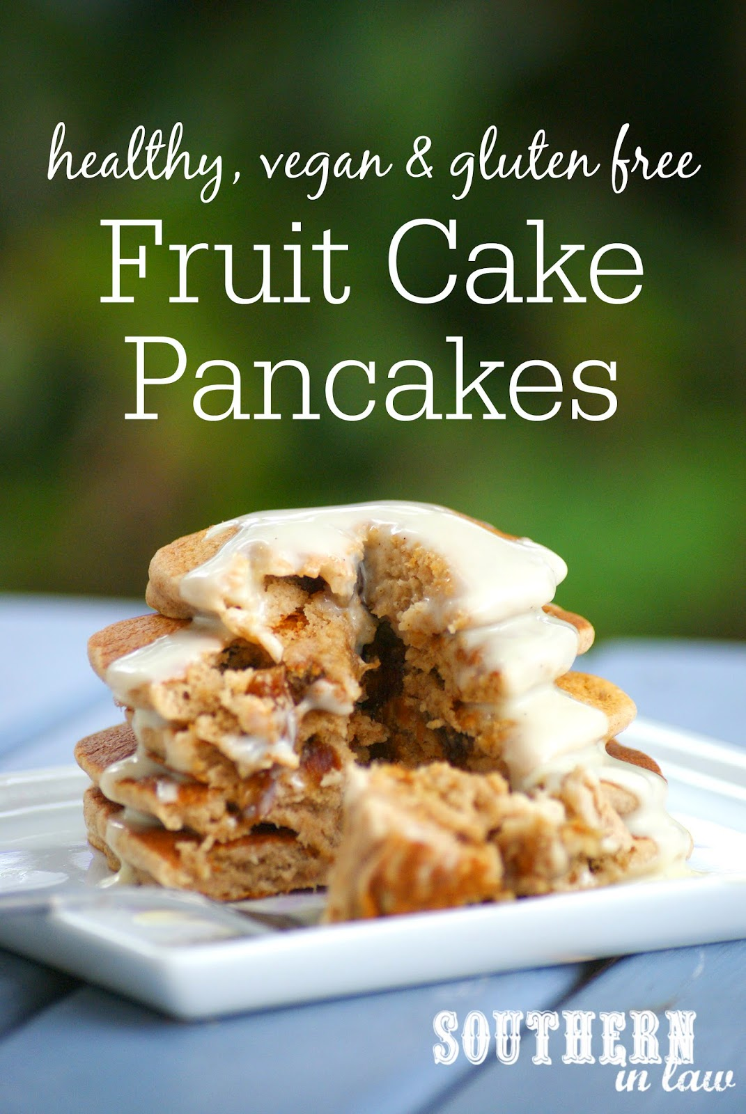 Healthy, Vegan and Gluten Free Fruit Cake Pancakes Recipe - Healthy Christmas Breakfast Recipe